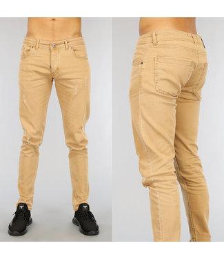 NEW1802 Camel Heren Jeans met Krassen