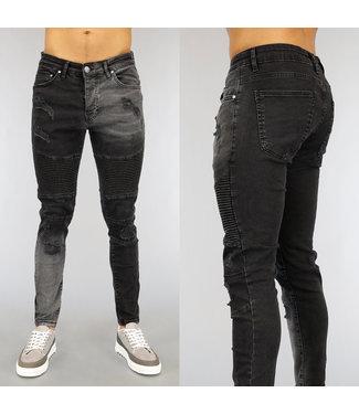 Geribbelde Zwarte Heren Skinny Jeans met Scheuren