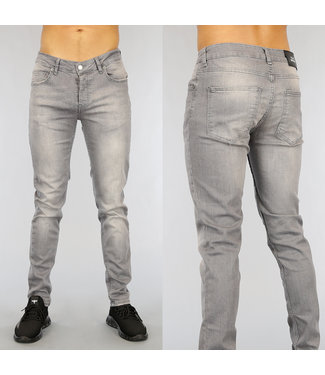 Grijze Slim Fit Heren Jeans met Wassing