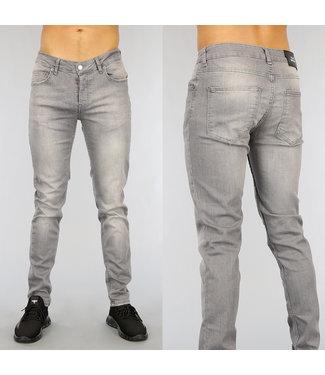 NEW1802 Grijze Slim Fit Heren Jeans met Wassing