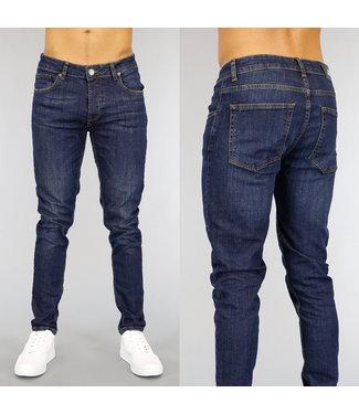 Basic Donkerblauwe Slim Fit Heren Jeans