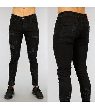 NEW1802 Zwarte Ripped Heren Jeans met Krassen