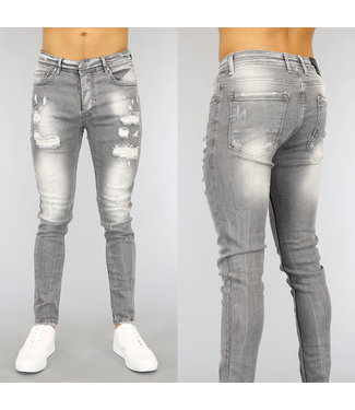 NEW1802 Grijze Ripped Slim Fit Heren Jeans