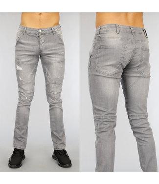 Grijze Slim Fit Heren Jeans met Scheuren