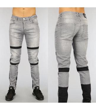 Grijze Slim Fit Heren Jeans met Zwarte Details