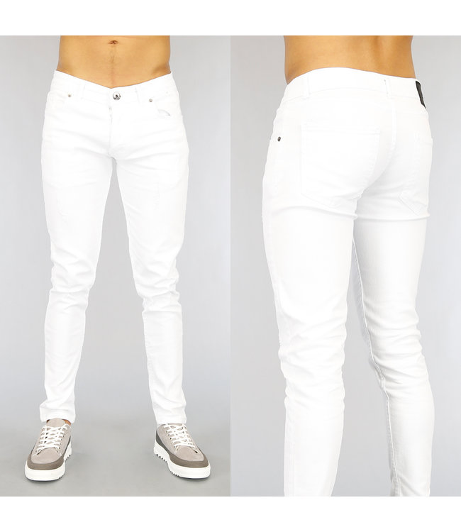 Witte Slim Fit Heren Jeans