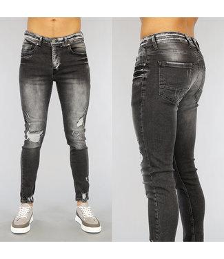 NEW1802 Old Look Grijze Heren Skinny Jeans
