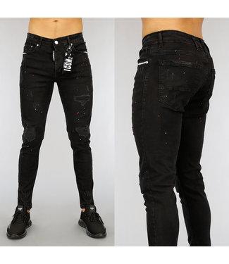 NEW1802 Zwarte Damaged Heren Jeans met Witte Details