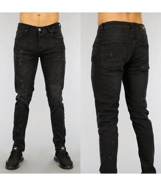 Zwarte Ripped Heren Jeans met Verfspatten