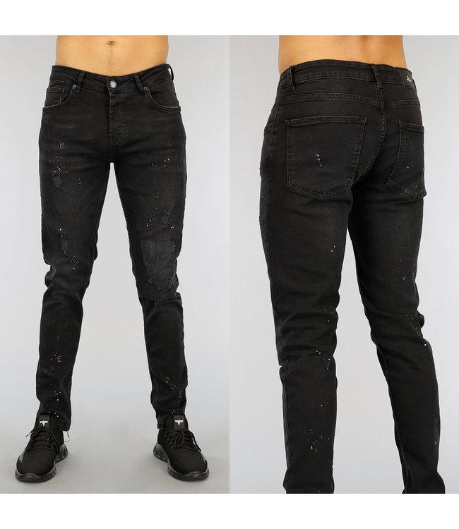 !OP=OP Zwarte Ripped Heren Jeans met Verfspatten