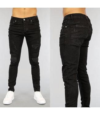 Zwarte Skinny Heren Jeans met Krassen