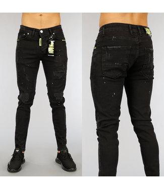 NEW1802 Zwarte Damaged Heren Jeans met Gele Details
