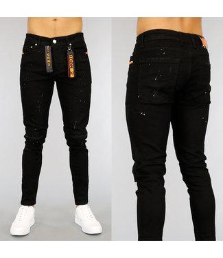 NEW1802 Zwarte Damaged Heren Jeans met Oranje Details
