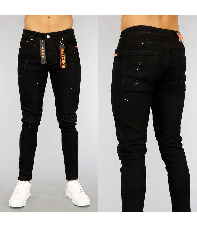!OP=OP Zwarte Damaged Heren Jeans met Oranje Details