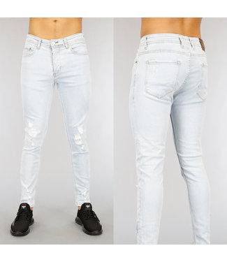 Lichtblauwe Skinny Heren Jeans met Scheuren