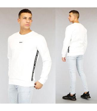 NEW1802 Witte Heren Sweater met Tekst
