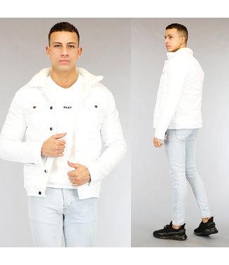 NEW1802 Wit Gevoerd Heren Denim Jacket