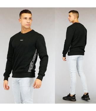 Zwarte Heren Sweater met Tekst