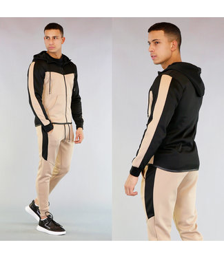 Beige/Zwart Trainingspak Heren