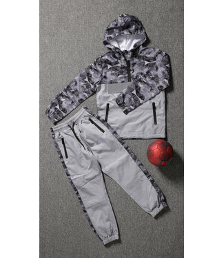 NEW1802 Grijze Kids Tracksuit met Camouflageprint