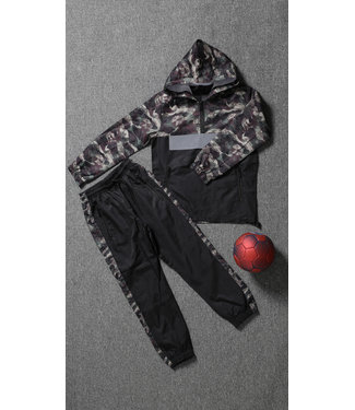 NEW1802 Zwarte Kids Tracksuit met Camouflageprint