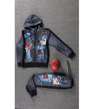 Grijs Kids Trainingspak met Cartoon Print