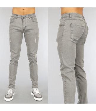 Grijze Old Look Heren Jeans met Krassen