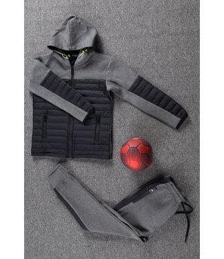 NEW1802 Grijs/Zwart Kids Trainingspak met Vest