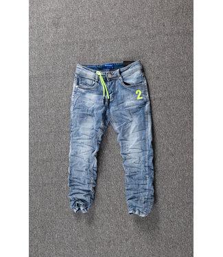 Blauwe Jongens Skinny Jeans met Gele Details
