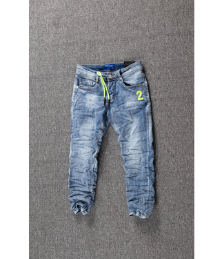 NEW1802 Blauwe Jongens Skinny Jeans met Gele Details
