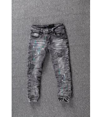 NEW1802 Grijze Jongens Skinny Jeans met Verfspatten