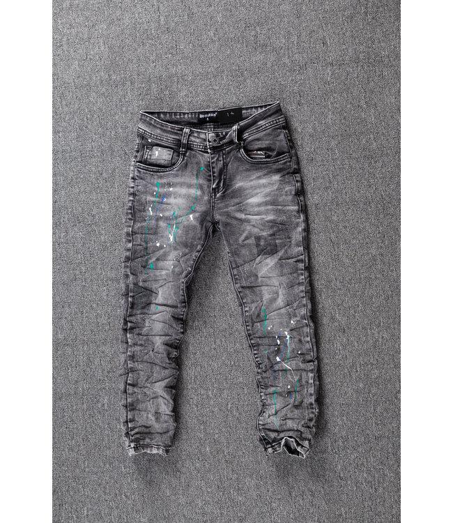 Grijze Jongens Skinny Jeans met Verfspatten