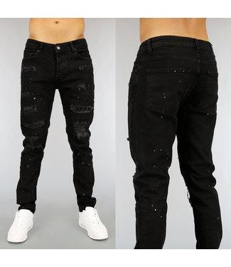 NEW! Zwarte Ripped Heren Jeans met Strass en Verfspatten
