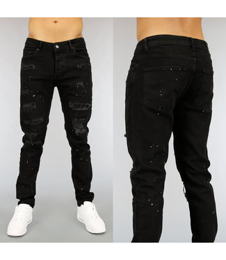 Zwarte Ripped Heren Jeans met Strass en Verfspatten