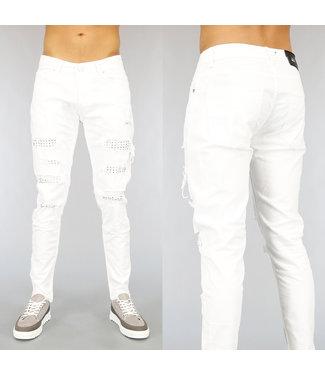 Witte Heren Jeans met Gaten en Studs
