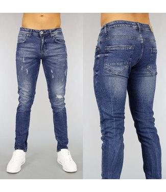 Blauwe Slim Fit Heren Jeans met Scheuren en Wassing