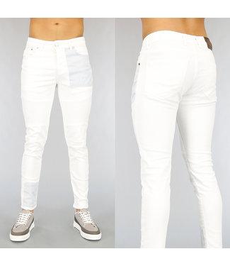 NEW1802 Witte Heren Skinny Jeans met Blauwe Zak
