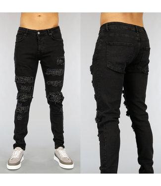 NEW1802 Zwarte Heren Jeans met Gaten en Studs