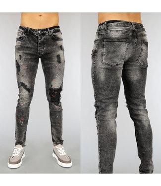 NEW1802 Zwarte Acid Heren Jeans met Verfspatten en Gaten