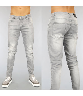 NEW1802 Basic Grijze Slim Fit Heren Jeans