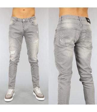 Grijze Slim Fit Heren Jeans met Gaten en Verfspatten