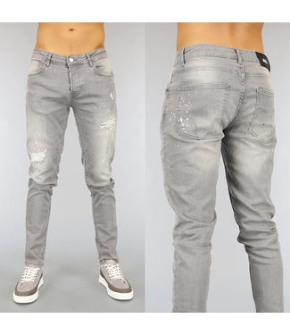 NEW1802 Grijze Slim Fit Heren Jeans met Gaten en Verfspatten