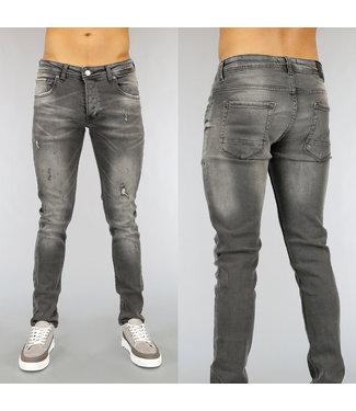Grijze Washed Slim Fit Heren Jeans met Scheuren
