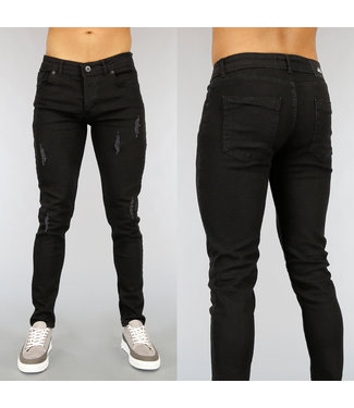 NEW! Zwarte Slim Fit Heren Jeans met Scheuren