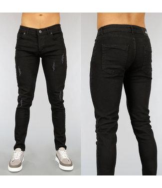 Zwarte Slim Fit Heren Jeans met Scheuren