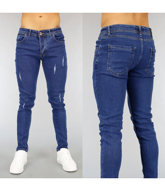 NEW! Blauwe Skinny Heren Jeans met Krassen