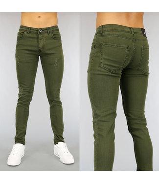 Donkergroene Skinny Heren Jeans met Krassen