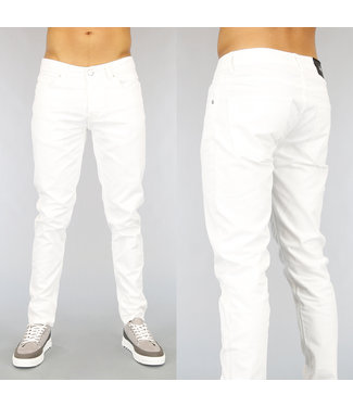 NEW! Basic Witte Slim Fit Heren Jeans