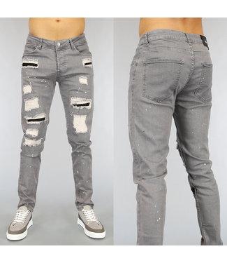 Grijze Ripped Heren Jeans met Strass en Verfspatten