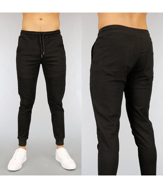 NEW2502 Zwarte Stretch Heren Jogger met Ribbels
